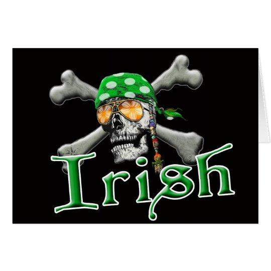 Irish Pirate Scull and Bones Card