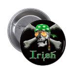 Irish Pirate Scull and Bones Pinback Buttons