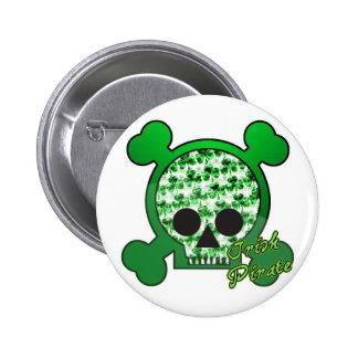 irish pirate skully skull 2 inch round button