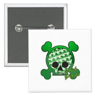 irish pirate skully skull 2 inch square button