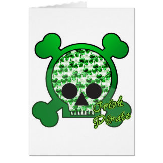 irish pirate skully skull card