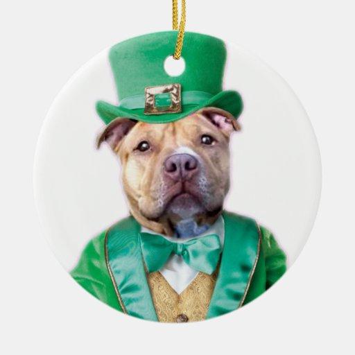Irish Pitbull Dog Christmas Ornaments