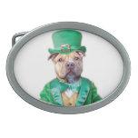Irish Pitbull Dog Oval Belt Buckle