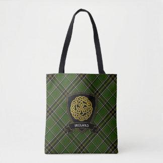 Irish Plaid Celtic Symbol Tote Bag