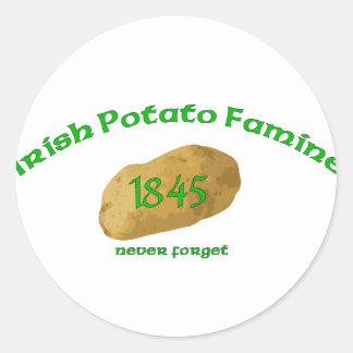 Irish Potato Famine - Never Forget! Classic Round Sticker