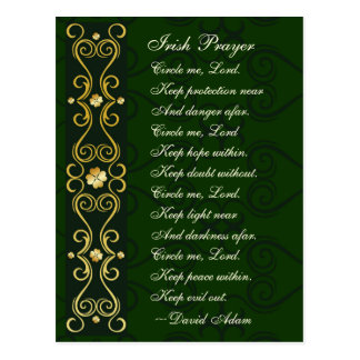 Irish Prayer, Circle me Lord, Postcard