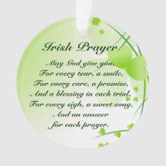 Irish Prayer Hearts And Shamrocks Custom Ornament at Zazzle