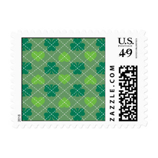 Irish pride - green hearts and shamrocks postage
