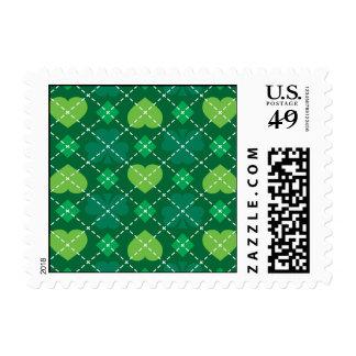 Irish Pride - Green hearts and shamrocks Postage Stamp