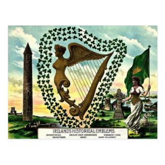 Irish Pride Ireland's Emblems golden harp clovers Postcard