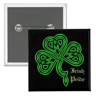 Irish Pride Lucky Celtic Shamrock Square Button