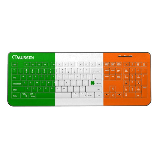 [Irish Pride] Shamrock Flag Wireless Keyboard