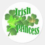 Irish princess and fairy classic round sticker