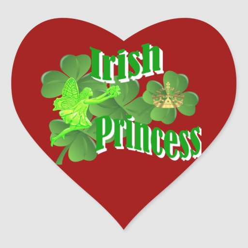 Irish princess heart sticker