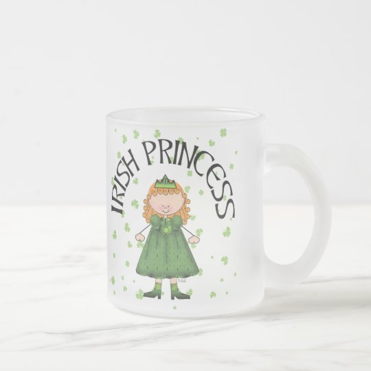 Irish Princess Redhead Frosted Glass Coffee Mug