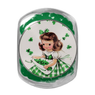 Irish Princess. St. Patrick's Day Gift Candy Glass Candy Jar