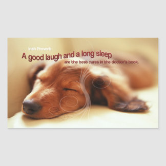 Irish Proverb and Sleeping Dog Rectangular Sticker