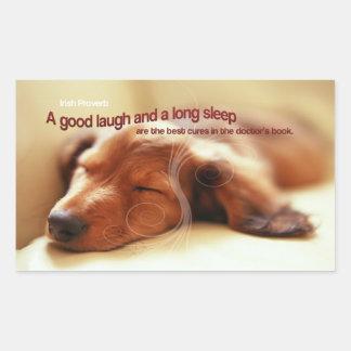 Irish Proverb and Sleeping Dog Rectangular Sticker