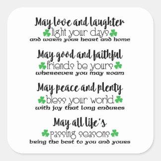 Irish Proverb Blessing Square Sticker