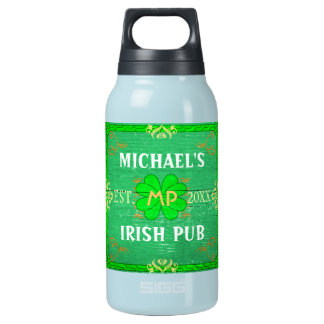 Irish Pub Create Your Own Personalized Green Insulated Water Bottle