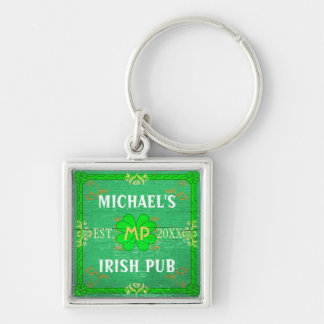 Irish Pub Create Your Own Personalized Green Keychain