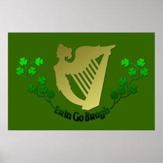 Irish Pub Erin Go Bragh Ireland Eire Harp & Clover Poster