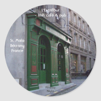 Irish Pub in St. Malo, France Classic Round Sticker