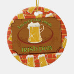 Irish Pub Sign Double-Sided Ceramic Round Christmas Ornament