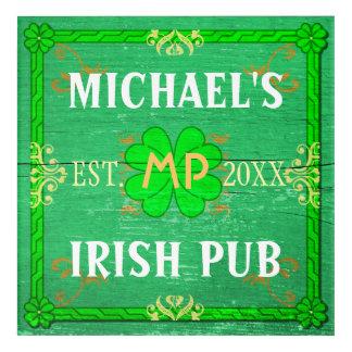 Irish Pub Sign St Patricks Bar Beer   Custom Name Acrylic Wall Art