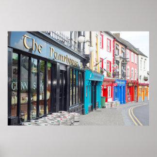 irish pubs and retaurant fronts poster