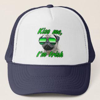 Irish Pug, Funny Kiss Me St. Patrick's day Trucker Hat