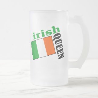 Irish Queen & Flag Frosted Glass Beer Mug