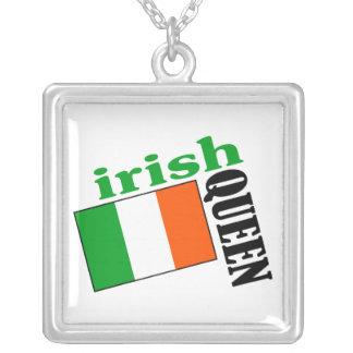 Irish Queen & Flag Square Pendant Necklace