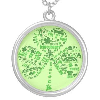 Irish Quotes Shamrock Round Pendant Necklace