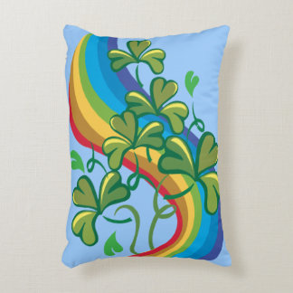 Irish Rainbow and Shamrocks Decorative Pillow