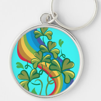 Irish Rainbow and Shamrocks Keychain