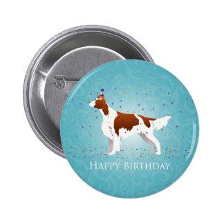 Irish Red and White Birthday Design Pinback Button