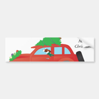 Irish Red and White Dog Driving a Christmas Car Bumper Sticker