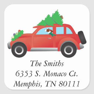 Irish Red and White Dog Driving a Christmas Car Square Sticker