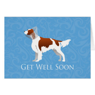 Irish Red and White Setter Get Well Soon Design Card