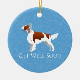 Irish Red and White Setter Get Well Soon Design Ceramic Ornament