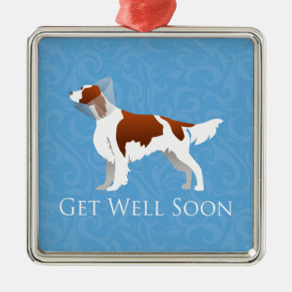 Irish Red and White Setter Get Well Soon Design Metal Ornament