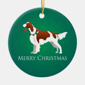 Irish Red and White Setter Merry Christmas Design Ceramic Ornament