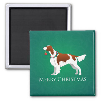 Irish Red and White Setter Merry Christmas Design Magnets