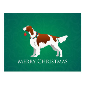 Irish Red and White Setter Merry Christmas Design Postcards