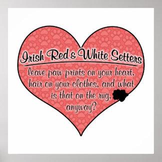 Irish Red and White Setter Paw Prints Dog Humor Print