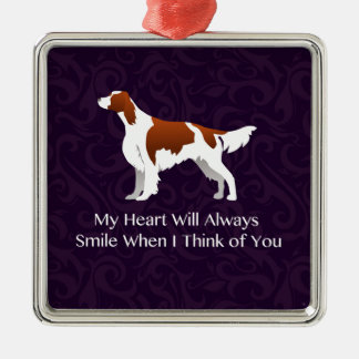 Irish Red and White Setter Thinking of You Metal Ornament