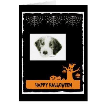 Halloween Themed Irish Red & White Setter Halloween Card