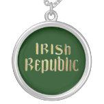 Irish Republic - Republic of Ireland Flag Round Pendant Necklace