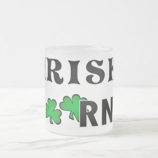 Irish RN Frosted Glass Coffee Mug